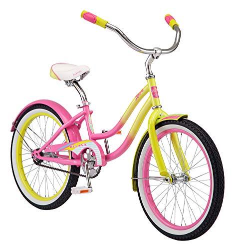 Kulana Lakona Shore Youth Beach Cruiser Bike, 20-Inch Wheels, Single Speed, Pink/Yellow, Model Number: R0901AZ