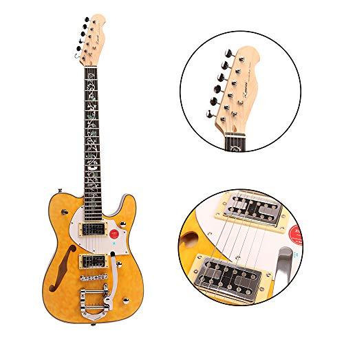 ZUWEI Semi-Hollow-Body Electric Guitar Custom Series - Maple Top & Canada Maple Neck, Silver Hardware Trans Yellow