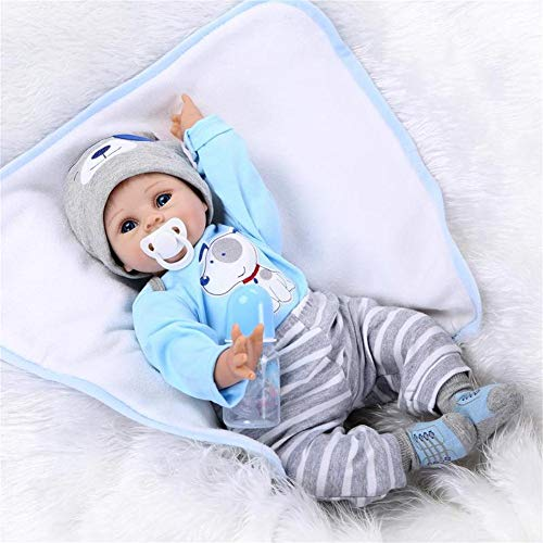 OCSDOLL Reborn Baby Dolls Boy Look Real Baby Dolls Silicone Vinyl Blue Outfit 22 Inches