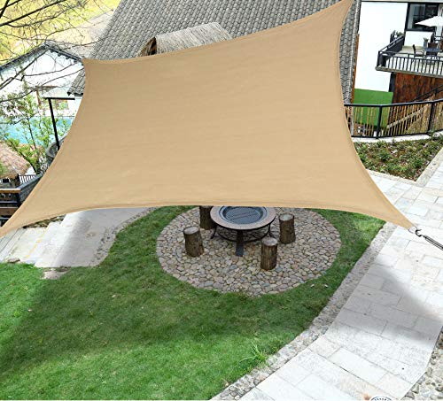 LOVE STORY 12' x 16' Rectangle Sand Sun Shade Sail Canopy UV Block Awning for Outdoor Patio Garden Backyard