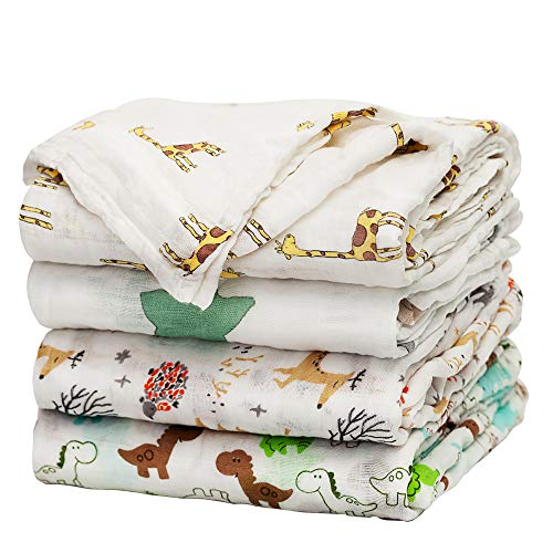 Baby Swaddle Blanket Upsimples Unisex Swaddle Wrap Soft Silky Bamboo Muslin Swaddle Blankets Neutral Receiving Blanket for Boys and Girls, 46 x 45 inches, Set of 4 - Fox/Elephant/Giraffe/Dinosaur