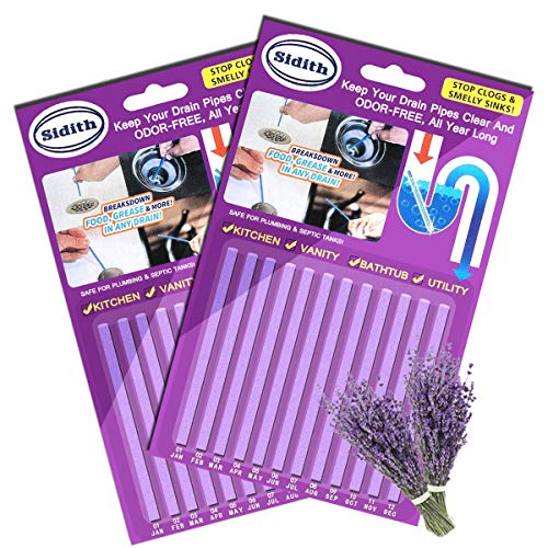 Sidith Drain Sticks, Sink Deodorizer (24 Pcs), Sink Freshener to Keep Odor Free As Seen On TV for Bathroom, Kitchen, Toilet, Shower draeen On TV for Bathroom, Kitchen, Toilet, Shower drain (Lavender)