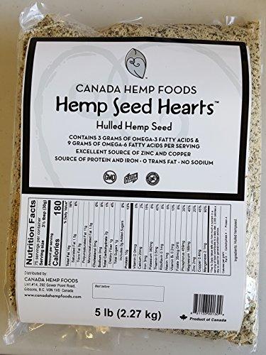 Canada Hemp Foods - Hulled Hemp Seed Hearts - Omegas 3,6 - Non GMO, Gluten Free - 5lb Bag