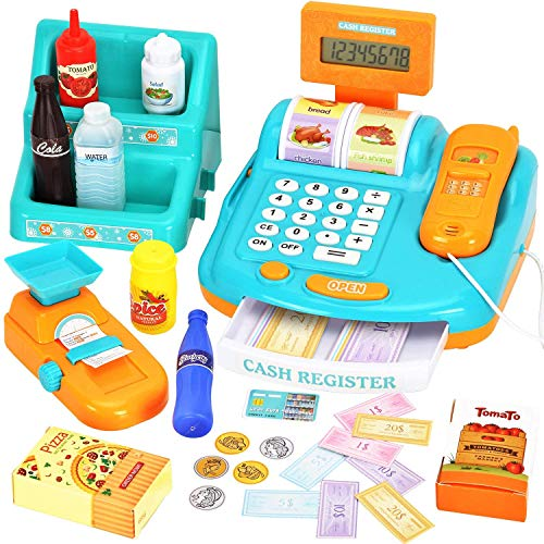 WloveTravel Toy Cash Register for Kids Pretend Play Money Machine Cashier with Sounds, Scanner, Calculator, Scale, Goods Shelf, Credit Card, Play Money & Grocery Toy for Boys & Girls Gift