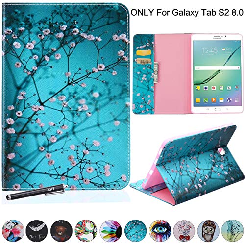 NewShine Samsung Galaxy Tab S2 8.0 Case PU Leather Stand Folio Case Cover with Card Slots, Note Holder for Samsung Galaxy Tab S2 Tablet (8.0 Inch, SM-T710 T715) - Almond Flowers