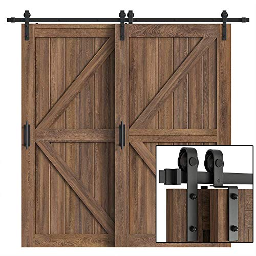 WINSOON 10FT Single Track Bypass Barn Door Hardware Double Doors Kit, Heavy Duty Sliding One Track Antique Roller for Cabinet Closet Fit Double 60' Wide Doors