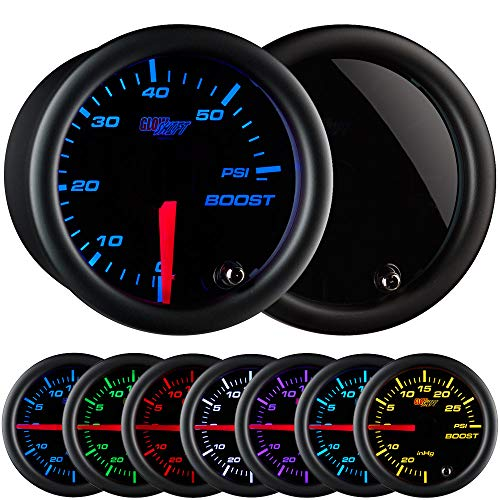 GlowShift Tinted 7 Color 60 PSI Turbo Boost Gauge Kit - Includes Mechanical Hose & Fittings - Black Dial - Smoked Lens - For Diesel Trucks - 2-1/16' 52mm