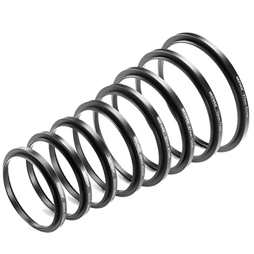 Neewer 8 Pieces Step-up Adapter Ring Set Made of Premium Anodized Aluminum , includes: 49-52mm, 52-55mm, 55-58mm, 58-62mm, 62-67mm, 67-72mm, 72-77mm, 77-82mm--Black