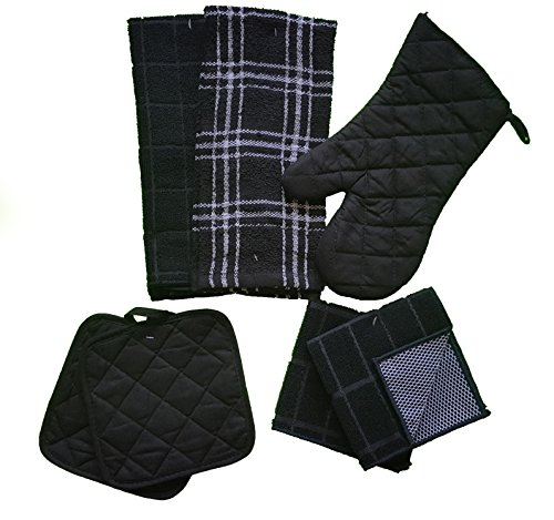 The Spotted Moose Kitchen Linen Set Black/White 7 Piece Bundle – 2 Dish Towels, 2 Dishcloths, 2 Potholders, and 1 Oven Mitt