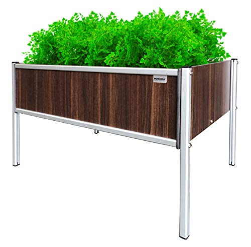 Foreman Garden Bed Planter Box Kit 36' Lx24 Wx25 H Premium HPL Plastic Wood Grain (Tosca) Anodized Aluminum Outdoor Indoor Made in The USA
