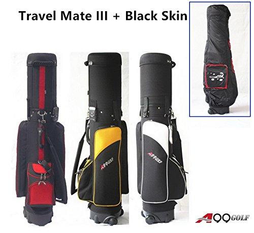 A99Golf Travel Mate III with Skin Wheeled Cover W. TSA Lock Air Porter Golf Travel Bag cart Bag (Black/Grey)