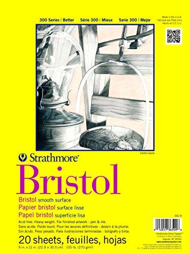 Strathmore 300 Series Bristol Smooth Pad, 9'x12' Tape Bound, 20 Sheets