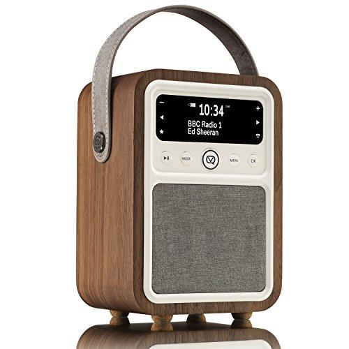 VQ Monty HD Digital Radio with AM & FM, Bluetooth & Alarm Clock  Real Wood Case Walnut