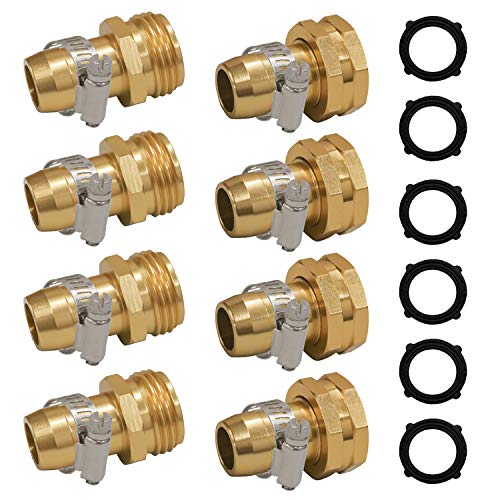 Hourleey Garden Hose Repair Connector with Clamps, Fit for 3/4' or 5/8' Garden Hose Fitting, 4 Set