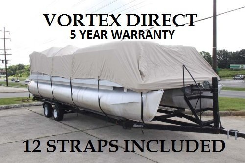Vortex New Beige 20 FT Ultra 5 Year Canvas Pontoon/Deck Boat Cover, Elastic, Strap System, FITS 18'1' FT to 20' Long Deck Area, UP to 102' Beam (Fast - 1 to 4 Business Day DELIVERY)