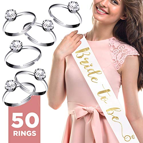 Bride To Be Sash + Set of 50 Silver Plated Rings – Silky Bride to Be Sash & Adjustable Engagement Diamond Rings for Bridesmaids – Hen & Bachelorette Party Supplies, Decorations & Party Favors