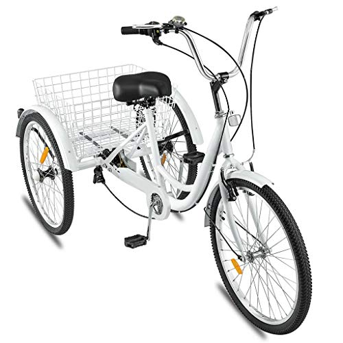 Adult Tricycles Seven Speed, Multiple Speeds, 24-inch 3-Wheels, Cargo Basket, Three-Wheeled Bicycles Cruise Trike with Shopping Basket for Seniors, Women, Men