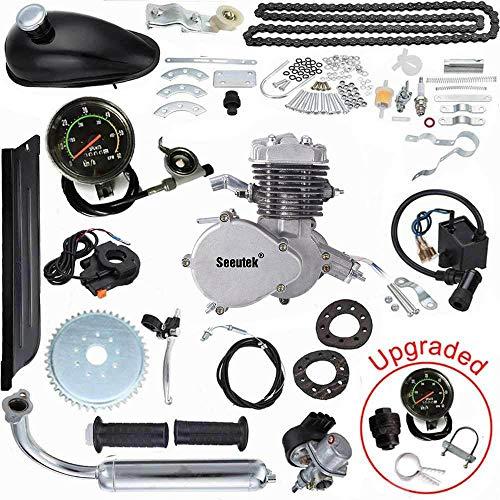 Seeutek PK80 80cc Bicycle Engine Kit 2-Stroke Gas Motorized Bike Motor Kit Upgrade with Speedoemter