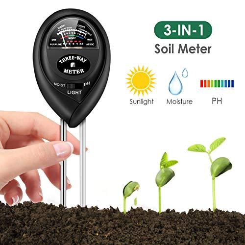 Soil Test Kit, Soil Tester for Moisture, Light & pH Meter for Plant, Vegetables, Garden, Lawn, Farm, Indoor/Outdoor Plant Care Soil Teste