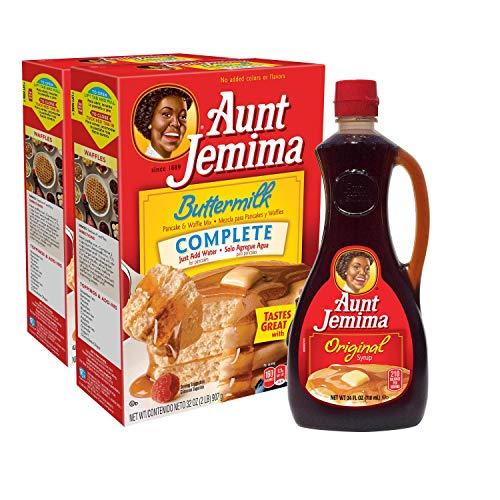Aunt Jemima Original Syrup & Complete Buttermilk Pancake Mix Variety Pack, 2 (2lb) Boxes of Pancake Mix & 1 (24oz) Bottle of Original Syrup, 1 Set