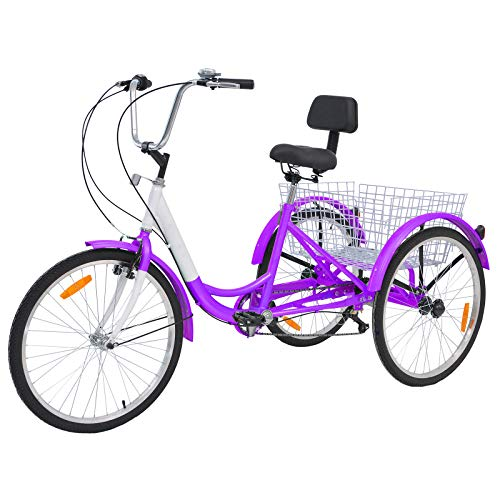 Barbella 26 Inch 3 Wheel Adult Tricycle Bike Cycling Pedal Cruiser Bicycles Folding Basket with Assembly Tools (Rose Purple, 7 Speed)