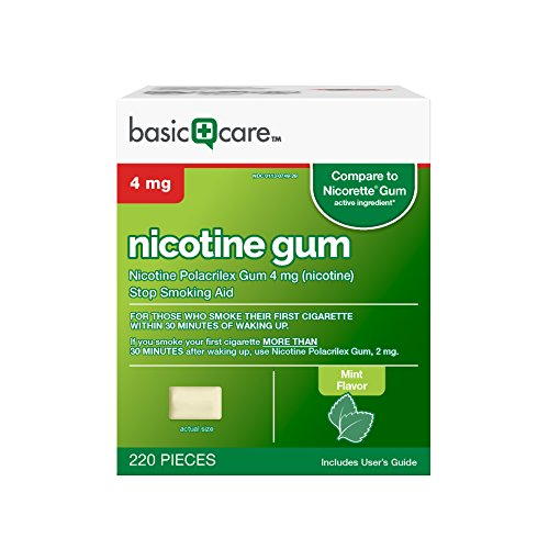 Basic Care Nicotine Polacrilex Gum, Mint Flavor, 4 mg, 220 Count