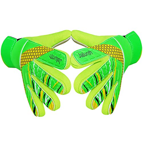Goalkeeper Goalie Soccer Gloves - Kids & Youth Football Goal Keeper Gloves with Embossed Anti-Slip Latex Palm and Soft PU Hand Back (Green, 7)