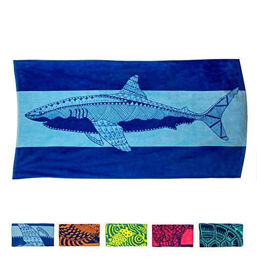 "Nova Blue Shark Beach Towel – Blue with A Tropical Design, Extra Large, XL (34""x 63"") Made from 100% Cotton for Kids & Adults"