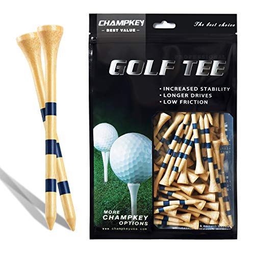 Champkey SDB Bamboo Golf Tees Pack of 120 (2-3/4' & 3-1/4' Available) - Friendly Biodegradable Material, More Durable and Stable (Natural, 3-1/4 Inch)