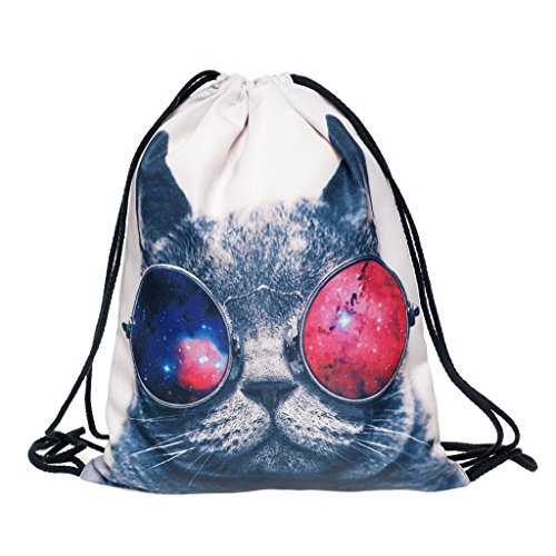 Ababalaya 3D Print Drawstring Backpack Rucksack Shoulder Bags Gym Bag, Cool Cat