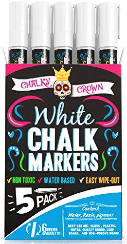 Liquid Chalk Marker Pen - White Dry Erase Marker - Chalk Markers for Chalkboard Signs, Windows, Blackboard, Glass - 6mm Reversible Tip (5 Pack) - 24 Chalkboard Labels Included