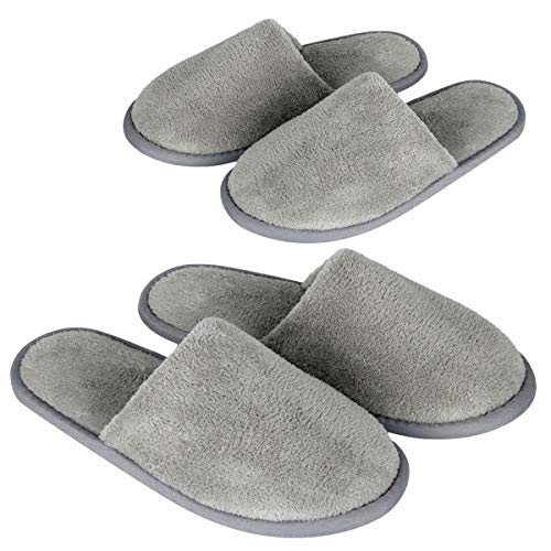 Spa Slippers, (6 Pairs- 3L,3M) Gray Closed Toe Disposable Indoor Hotel Slippers for Women, Fluffy Coral Fleece, Deluxe Padded Sole for Extra Comfort- Perfect for Guests, Hotel,Travel