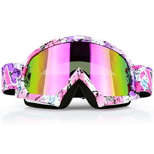JAMIEWIN Pink Motocross Motorcycle Goggles Dirt Bike ATV Racing Mx Goggles for Men Women Youth Kids (C42)