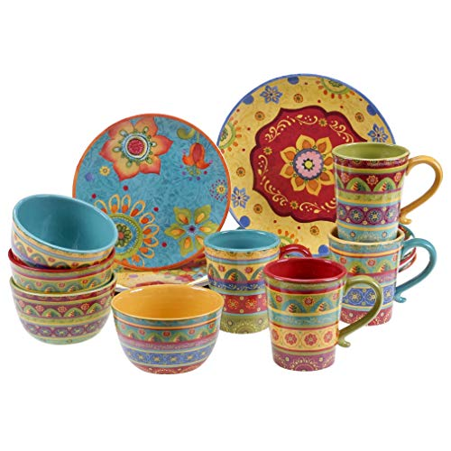 Certified International Tunisian Sunset 16 pc Set, Service for 4 Dinnerware, Dishes, Multicolored