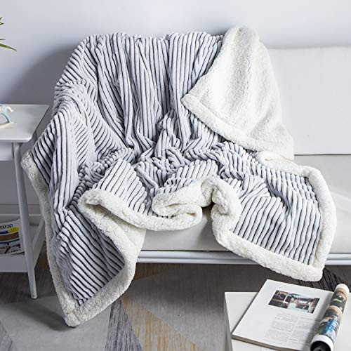 DISSA Sherpa Fleece Blanket Throw Blanket Soft Blanket Plush Fluffy Blanket Warm Cozy with Grey and White Strip Perfect Throw for All Seasons for Couch Bed Sofa (Grey, 51' x63'')