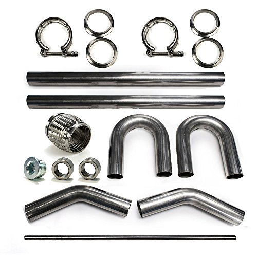 Squirrelly 3' 304 Stainless Steel Mandrel Bend Tubing DIY Builder Kit for Exhaust with V-Band Clamp Flex Coupler 45 180 Degree O2 Sensor & Bung