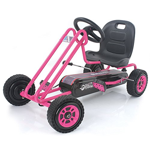 Hauck Lightning - Pedal Go Kart | Pedal Car | Ride On Toys for Boys & Girls with Ergonomic Adjustable Seat & Sharp Handling - Pink