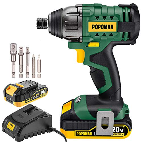 Impact Driver, 1600In-lbs 20V MAX Impact Drill, 2000mAh Battery, 60-Min Fast Charger 2A, 1/4' All-metal Hex Chuck, 0-2900RPM Variable Speed, 6 Pcs Accessories, Tool Bag Included