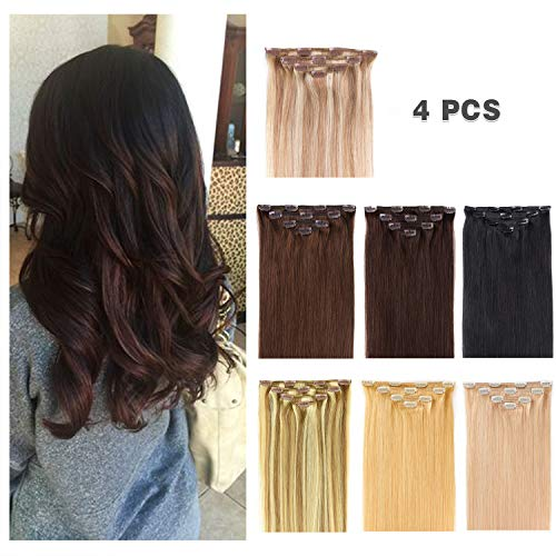 14' Clip in Hair Extensions Remy Human Hair for Women - Silky Straight Human Hair Clip in Extensions 50grams 4pieces Dark Brown #2 Color