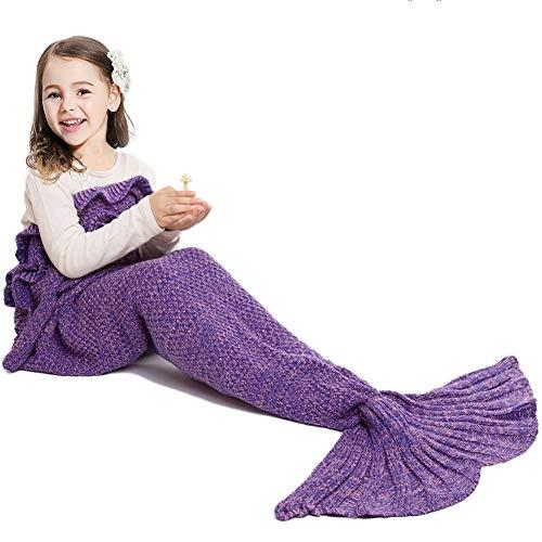 JR.WHITE Mermaid Tail Blanket for Kids Adult,Hand Crochet Snuggle Mermaid,All Seasons Seatail Sleeping Bag Blanket (Purple)