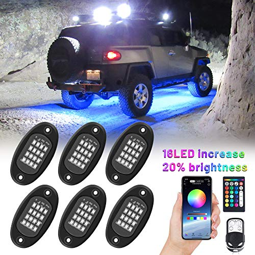 YISSDA RGB LED Rock Lights for Trucks, 96LEDs Car Underglow Lights Kit, APP RF Remote with Music Timing Mode, IP68 Waterproof UTV Off Road Neon Light with 59inch Extension, 6 Pods