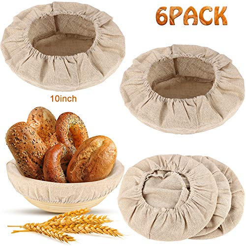 6 Packs Round Bread Proofing Basket Cloth Liner Sourdough Banneton Proofing Cloth Natural Rattan Baking Dough Basket Cover (10 Inch)
