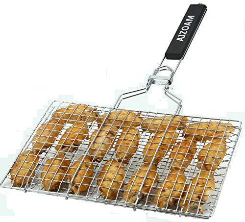AIZOAM Portable Stainless Steel BBQ Barbecue Grilling Basket for Fish,Vegetables, Steak,Shrimp, Chops and Many Other Food .Great and Useful BBQ Tool.-Bonus an Additional Sauce Brush.