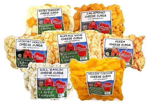Wisconsin Cheese Company, Wisconsin Classic Cheese Curd Sampler - Mixed, Garlic Dill, Jalapeno, Yellow, Buffalo Wing, Ranch and Hickory Hollow (Smoked) Cheese Curds