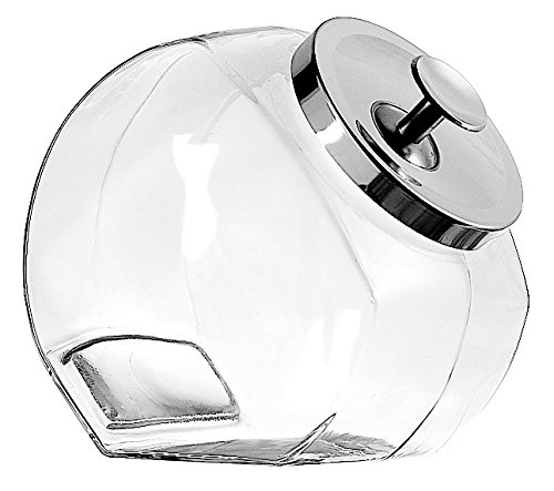 Anchor Hocking 1-Gallon Penny Candy Glass Jar with Lid, Chrome, Set of 2