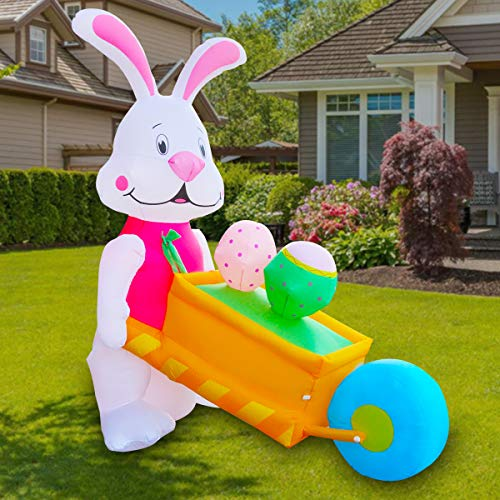Cost4less 8 Foot Party Inflatable Bunny Pushing Cart with Eggs Lighted Outdoor Indoor Holiday Decorations Blow up Yard Lawn Inflatables Home Family Outside Decor