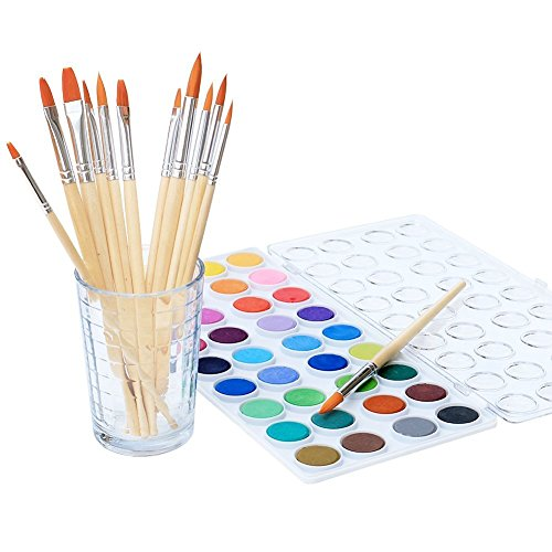 Watercolor Artist Set, 36 Colors, Includes a Variety of 12 Quality Brushes, Everything You Need to Get Started! Brushes Works Great for Watercolor and Acrylic (Watercolor Pan)