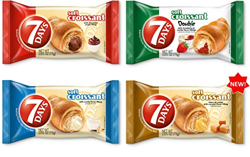 7Days Soft Croissant Variety Pack of 24: 6 Chocolate, 6 Vanilla, 6 Strawberry Vanilla, 6 Caramel, Perfect Breakfast Pastry or Snack, Non-GMO (Pack of 24)