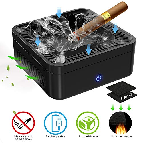 GESPERT Multifunctional Smokeless Ashtray for Cigarette Smoker, USB Rechargeable Smoke Grabber Ash Tray for Indoor Outdoor Home Office Car