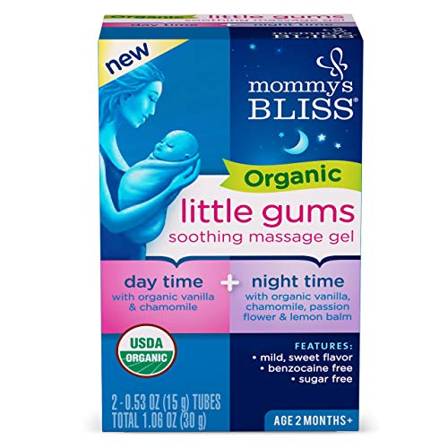 Mommy's Bliss - Organic Little Gums Soothing Massage Gel - Day & Night Combo - 1.06 Ounce (2 Tubes)